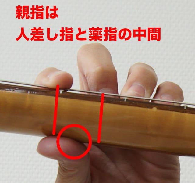 人差し指と中指の間に親指を置く