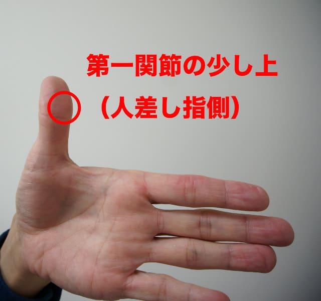 親指の第一関節の少し上でネックをはさむ